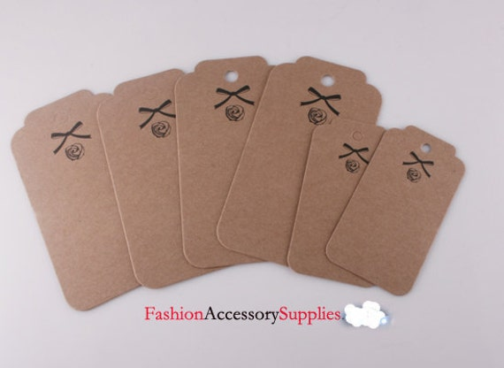 100pcs-82mmX44mm Kraft tags, Blank hang tags, labels for your project, Brown Thick Rigid Paper(H104)