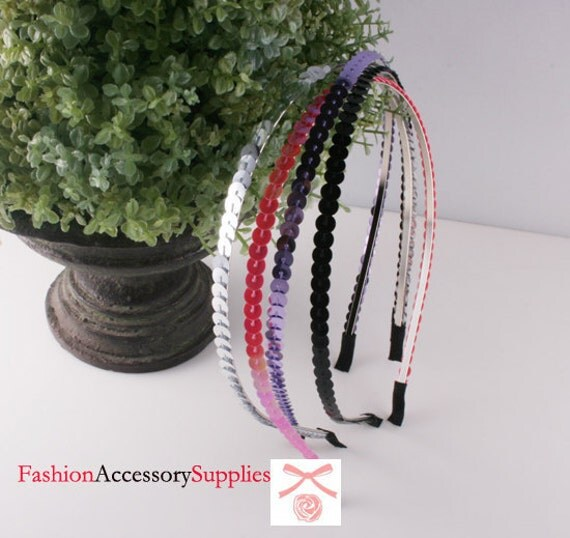 4PCS-3MM High Flex Metal Headband covered with Glitter Sequin-1 of each color(G123)