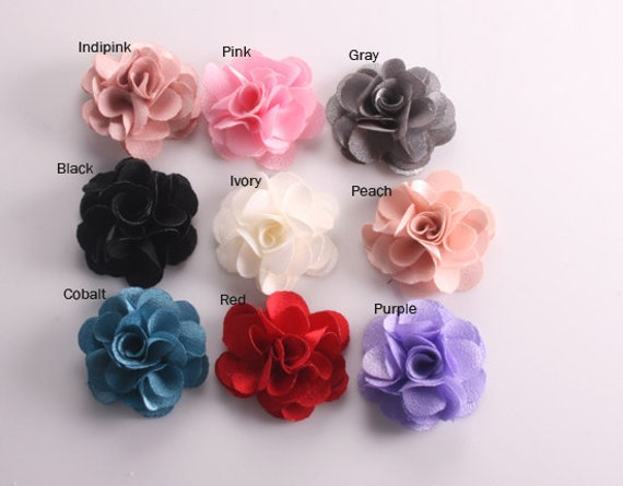 50Pcs-25mm 9Colors Small Satin Flower-(F220)-out of peach and indipink color