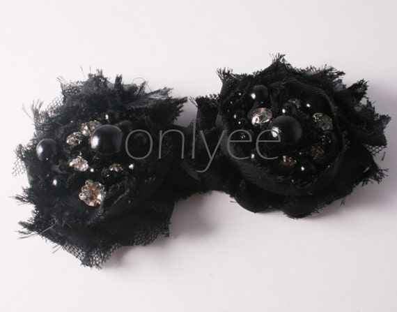 1pcs-55mm Rhinestone Centered Chiffon Flower for corsage,clothing,accessory and more-Black(F213)