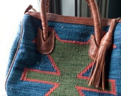 Vintage woven wool ethnic southwestern handbag