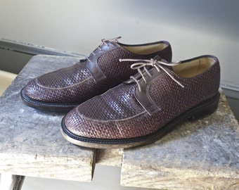 SALE... Vintage woven leather Oxford dress shoes