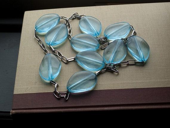 SALE, SALE... Vintage statement necklace with luminous aqua ICICLE beads