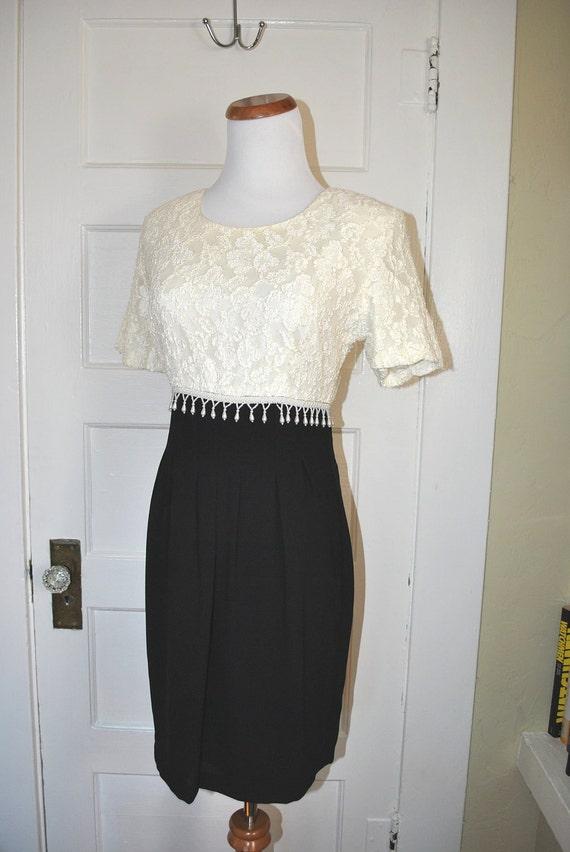 Vintage Creme Lace Black Dress