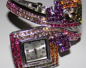 Spiral Square Crystal Fashion Watch/Bracelet