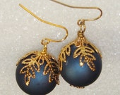 Christmas Ornament Earrings-Blue with Gold Leaf