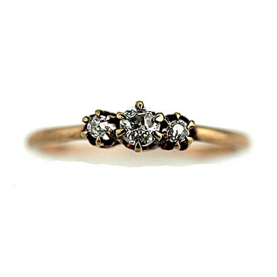 Antique Victorian Engagement Ring 14k Rose Gold Ring 1800s Diamond Wedding Ring Three Stone Old European Cut Diamond Size 6!