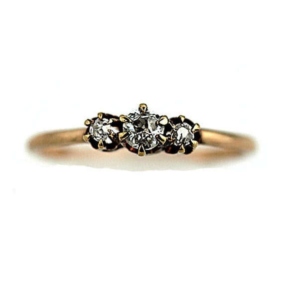 Dainty Diamond Band Antique Victorian Engagement Ring .45ctw 14k Rose Gold Ring 1800s Three Stone Old European Cut Diamond Ring Dainty Ring