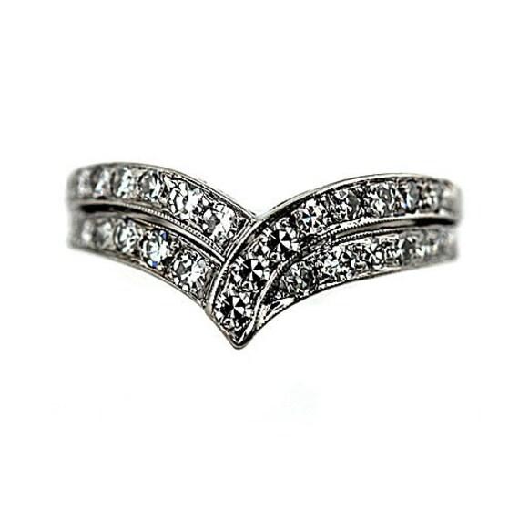 Estate Diamond Wedding Ring Band Contoured Wedding Band 1.50ctw Diamond Ring 14K White Gold Insert Ring Size 7!