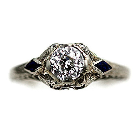 Art Deco 14 kt wg old european cut diamond and synthetic sapphire  engagement ring circa early 1900's