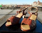 Vintage Leather Penaljo Tstrap Heels