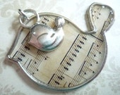 Musical Notes Bird Pendant with Mini Birdie Charm Qty 1