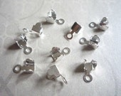 10 Silver Plated Rhinestone Chain Connectors Crimps 4mm Size for 3mm Size Chain