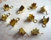 10 Brass Rhinestone Chain Connectors Crimps with Pointed Prongs 4mm Size for 3mm Size Chain