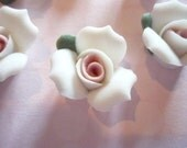 White Ceramic Rose Flower Flat Back 17mm Cabochons with Pink Center - Qty 6