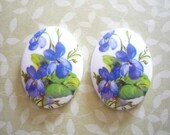 German Oval Decal Porcelain Painting 40 X 30mm Cabochons with Purple Violets on White Base Qty 2