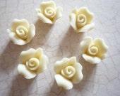 Sweet Ivory Cream Ceramic Rose Flower Flat Back 8mm Cabochons Qty 6