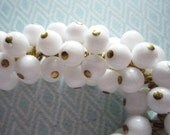 Opaque White Glass Bead 6mm Drops on Brass Loops - Round Bead Charms - Qty 12