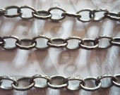Antiqued Silver Oval Rolo Chain Textured 4 X 6mm Links - 48 inches