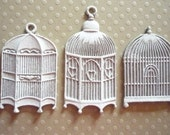 Shabby Chic White Metal Birdcage Collection Vintage Inspired Pendants, Embellishments or Cabochons Qty 3