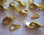 12mm Gold Lobster Clasps with Matching Jump Ring Tags - Qty 10