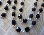 Bead Chain Jet Black 4mm Fire Polished Glass Beads on Silver Beaded Chain - Qty 18 Inch strand