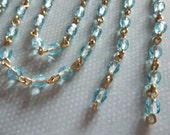 Bead Chain Aqua Blue 4mm Fire Polished Glass Beads on Brass Beaded Chain - Qty 18 Inch strand