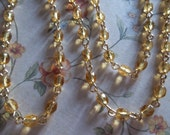 Topaz Gold 4mm Fire Polished Glass Beads on Gold Beaded Chain - Qty 18 inch strand
