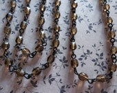 Bead Chain Smoke Topaz 4mm Fire Polished Glass Beads on Jet Black Beaded Chain - Qty 18 inch strand