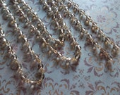 Smoke Topaz 4mm Fire Polished Glass Beads on Gold Beaded Chain - Qty 18 Inch strand