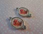Italian Enamel Bouquet of Roses Oval Connector in Silver with 2 Loops - Qty 2