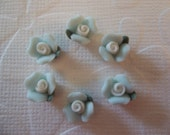 Ceramic Rose Cabochons Sweet Blue Ceramic Rose Flower with Green Leaf Flat Back 8mm - Qty 6