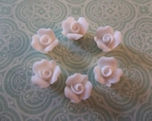 8mm White Ceramic Roses - Flower Cameos - Flat Back Cabochons - Qty 6