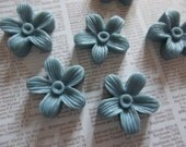 16mm Blue Daisy Resin Flower Cameo Cabochons - Qty 6