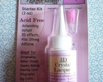 3D Crystal Lacquer 2 oz Bottle Starter Kit with Metal Fine Tip Applicator & Cleaning Pin for Gluing Cabs and 3D Clear Raised Glossy Effects