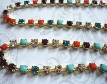 Rhinestone Chain Multi-Color Czech Crystal 3mm in Brass Setting Qty 1 yard