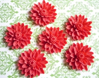 Matte Red Resin Water Lily Flower Flat Back 50mm Large Cabochons - Qty 5