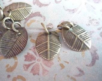 Antiqued Brass Metal Leaves - 8mm X 11mm Leaf Charms - Qty 20