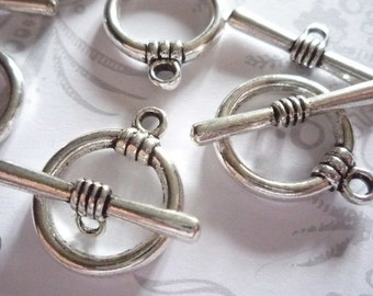 Antiqued Silver 17mm Toggle Clasps Qty 5 Sets