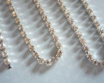 Sparkling Clear Czech Crystal 3mm Rhinestone Chain in Silver Plated Setting - Qty 36 inch strand