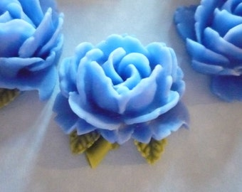 Blue Rose Cabochons with Olive Green Leaves - 30mm Resin Flower Cameos - Qty 6