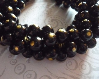 Opaque Jet Black Glass Bead 6mm Drops on Brass Loops - Round Bead Charms - Qty 12
