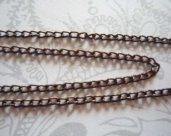 Thin Delicate Cable 2 X 3mm Chain in Antiqued Copper - 72 inches