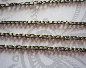 Thin Delicate Cable Chain 2 X 3mm in Antiqued Brass - 72 inches