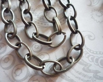 Antiqued Silver Oval Rolo Chain 6 X 10mm Links - 48 inches