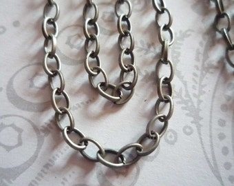 Small Oval Rolo 3 X 4mm Chain in Antiqued Silver - 60 inches