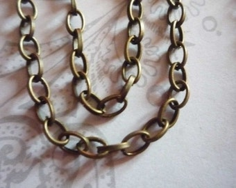 Small Oval Rolo 3 X 4mm Chain in Antiqued Brass - 60 inches