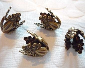 Oxidized Brass Flourish Bead Caps - Qty 2