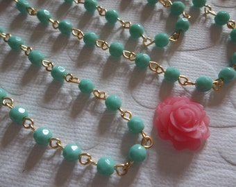 Turquoise Bead Chain - 4mm Fire Polished Glass Beads on Gold Beaded Chain - Qty 18 inch strand