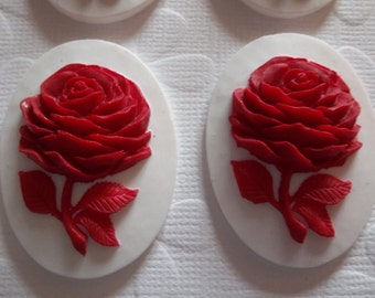 Red Rose Flower on White Cameo - 40 X 30mm Resin Cabochons - Qty 6